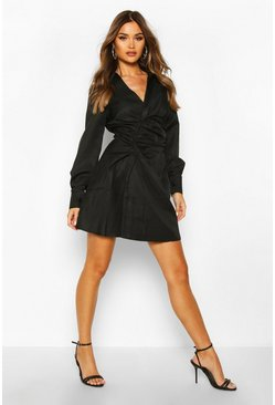 Black Woven Rouche Waist Skater Shirt Dress