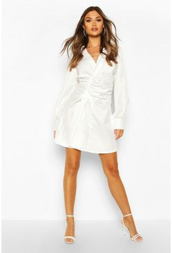 Womens White Woven Rouche Waist Skater Shirt Dress