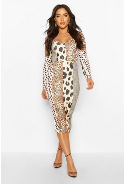 Womens Cream Mixed Animal Print Square Neck Bodycon Midi Dress