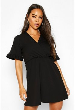 Womens Black Ruffle Sleeve Wrap Shoulder Dress