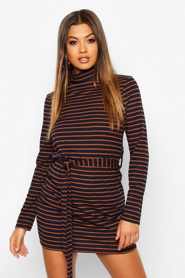 Womens Navy Rib Roll Neck Stripe Bodycon Mini Dress