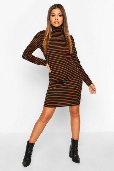 Womens Black Rib Roll Neck Stripe Long Sleeve Bodycon Dress