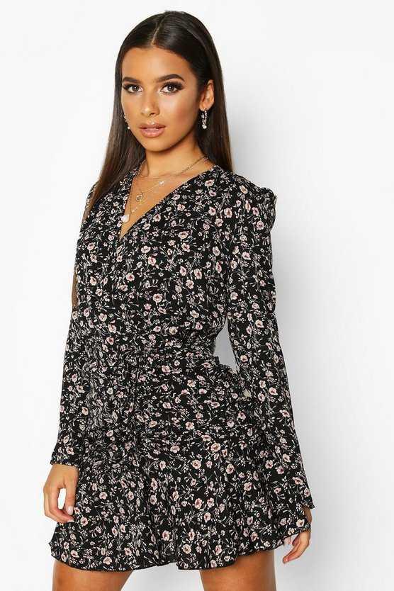 Woven Ditsy Floral Ruched Frill Hem Tea Dress