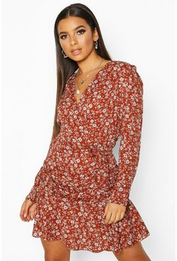 Rust Woven Ditsy Floral Ruched Frill Hem Tea Dress