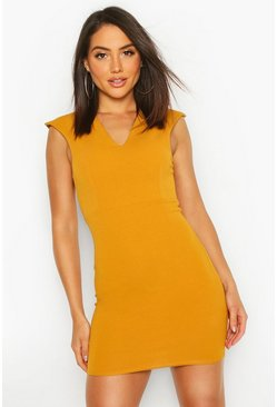 Mustard Plunge Front Bodycon Mini Dress
