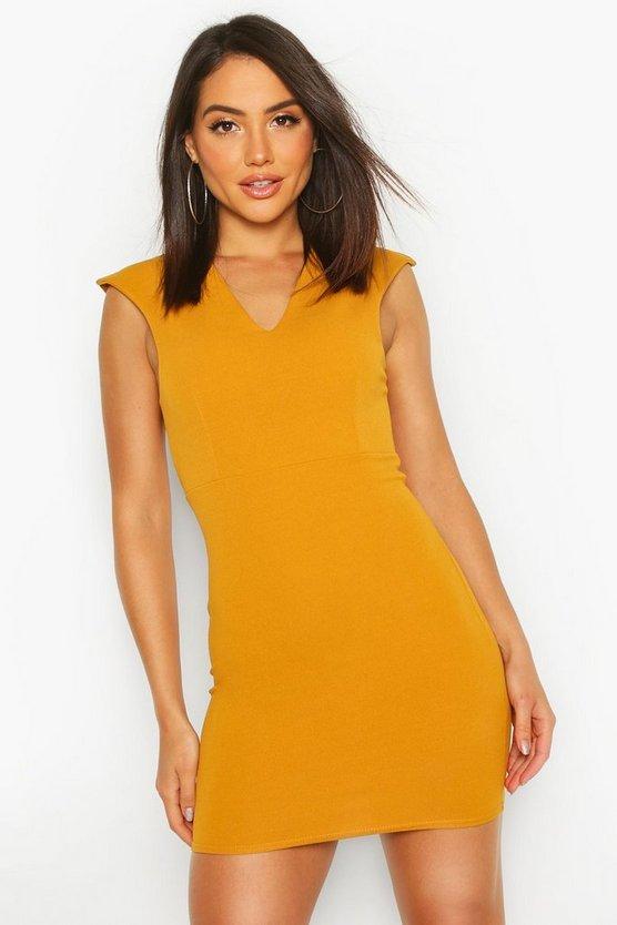 Plunge Front Bodycon Mini Dress