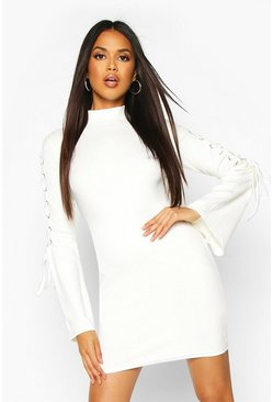 Dam Ecru Premium Rib Flare Sleeve Bodycon Mini Dress