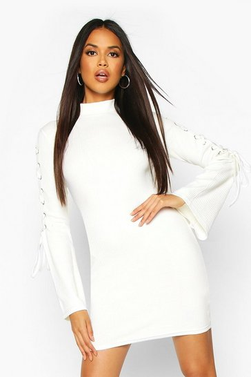 Womens Ecru Premium Rib Flare Sleeve Bodycon Mini Dress