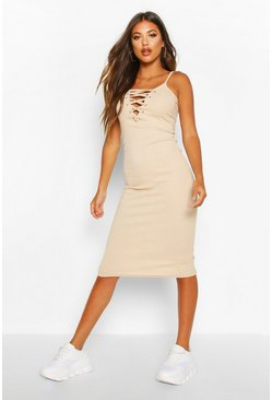Womens Stone Premium Rib Lace Up Strappy Midi Dress