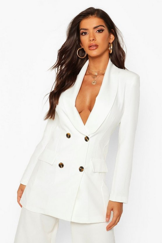 Womens Ivory Double Breasted Oversize Blazer