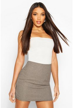 Brown Woven Check Mini Skirt