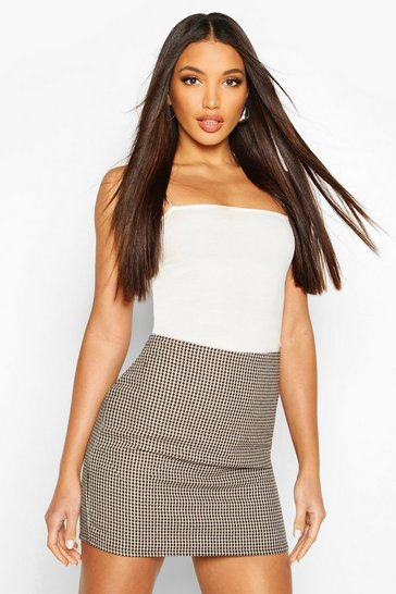 Womens Brown Woven Check Mini Skirt