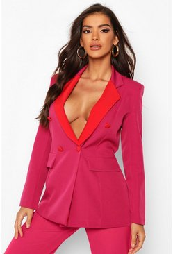 Pink Contrast Collar Double Breasted Blazer