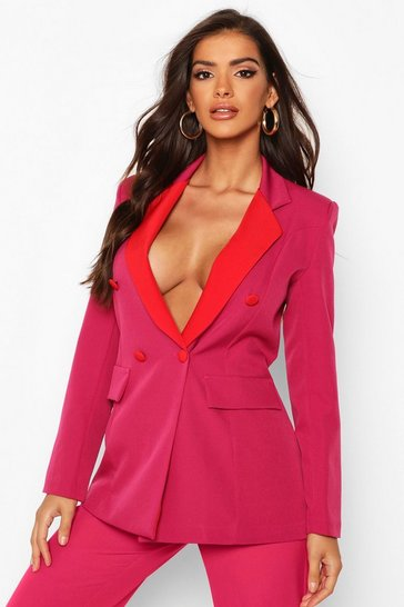 Womens Pink Contrast Collar Double Breasted Blazer