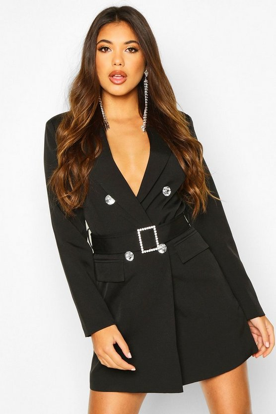 Black Jewelled Buckle Double Breasted Blazer Dress