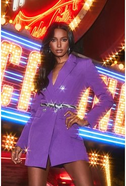 Dam Purple Jewelled Buckle Double Breasted Blazer Dress