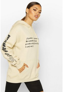 Womens Sand Woman Sleeve Print Graphic Hoodie