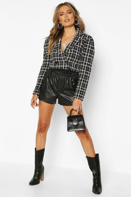 Boucle Double Breasted Cropped Blazer