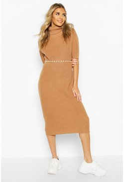 Biscuit Roll Neck Midi Dress