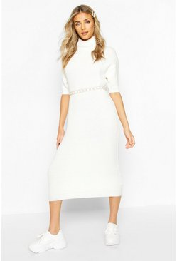 Cream Roll Neck Midi Dress