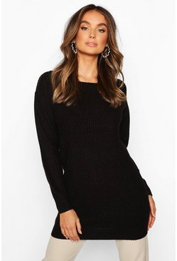 Dam Black Slash Neck Fisherman Jumper
