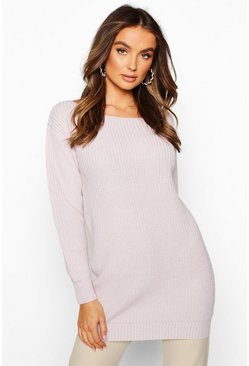 Womens Lilac Slash Neck Fisherman Jumper