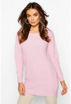 Pull col bateau style pêcheur, Rose pastel