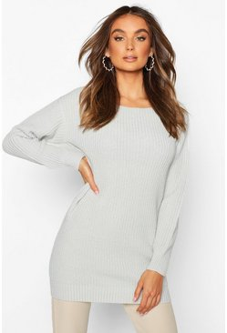 Silver Slash Neck Fisherman Jumper