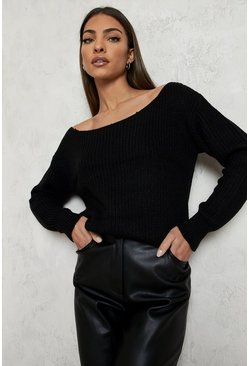 Womens Black Slash Neck Crop Fisherman Jumper