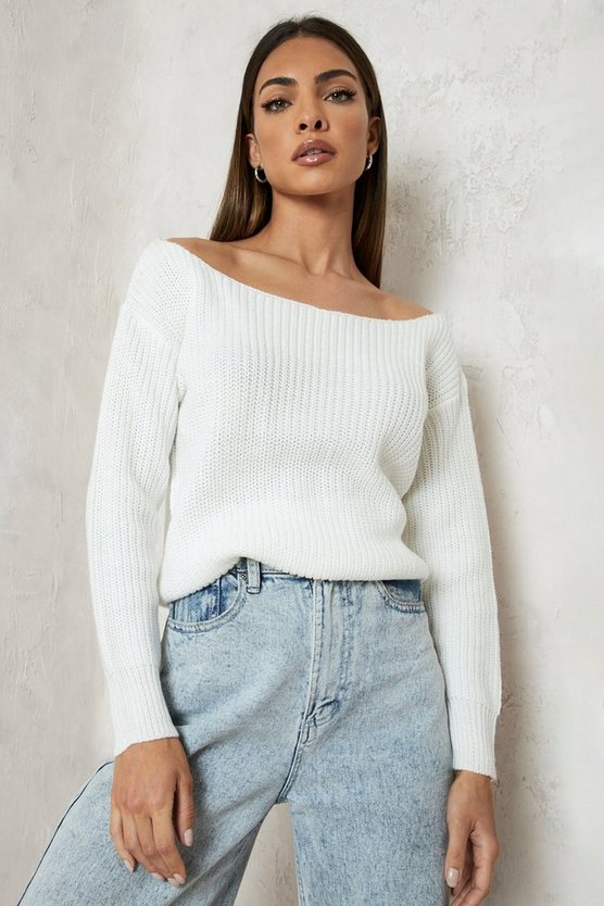 Womens Cream Slash Neck Crop Fisherman Jumper
