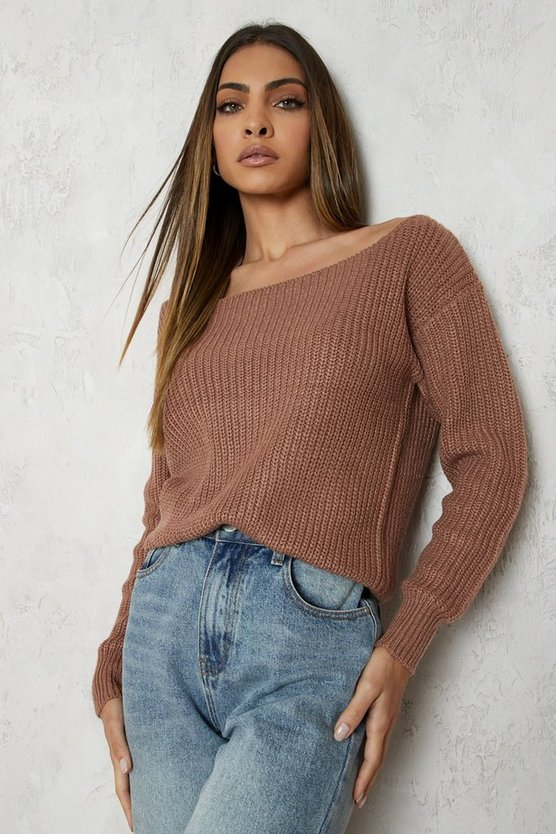 Womens Mocha Slash Neck Crop Fisherman Jumper