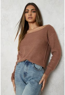 Mocha Slash Neck Crop Fisherman Jumper