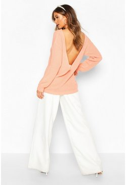 Womens Apricot V Back Oversized Jumper