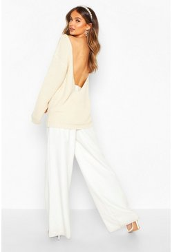 Ecru V Back Oversized Jumper