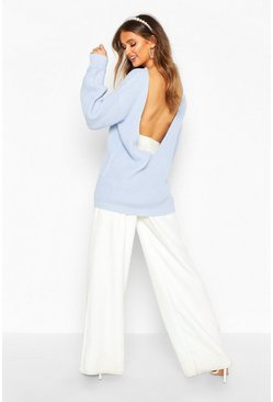 Womens Pastel blue V Back Oversized Jumper