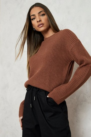 Womens Biscuit Fisherman Crew Neck Jumper