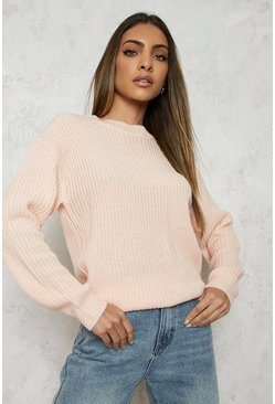 Womens Blush Fisherman Crew Neck Jumper