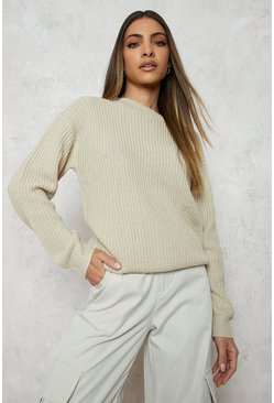 Womens Ecru Fisherman Crew Neck Jumper