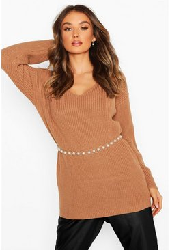 Biscuit Oversized Fisherman V Neck Jumper