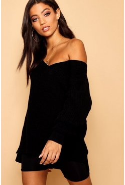 Womens Black Oversized Fisherman V Neck Jumper