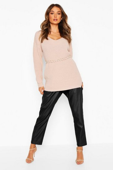 Womens Blush Oversized Fisherman V Neck Jumper