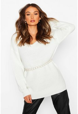Cream Oversized Fisherman V Neck Sweater