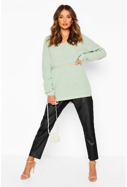 Womens Sage Oversized Fisherman V Neck Jumper