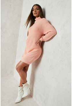 Womens Apricot Roll Neck Fisherman Jumper Dress