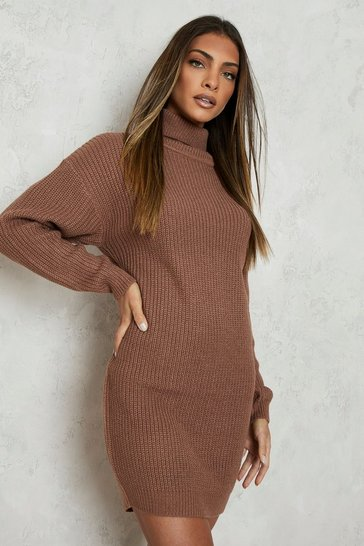 Womens Mocha Roll Neck Fisherman Jumper Dress