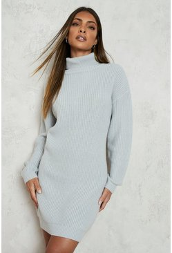 Silver Roll Neck Fisherman Jumper Dress