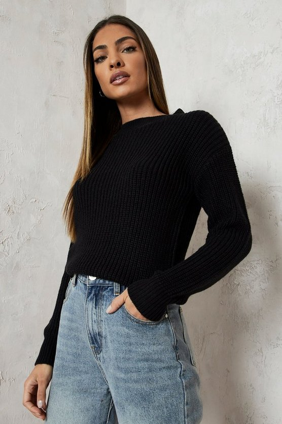 Womens Black Crop Fisherman Jumper