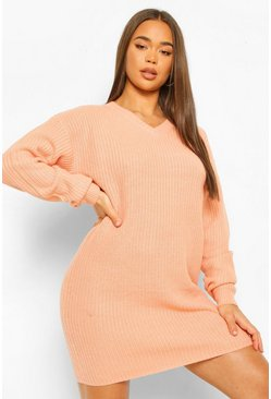 Womens Apricot Fisherman V Neck Jumper Dress