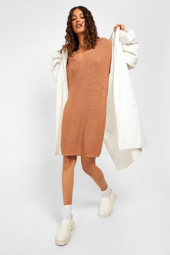 Womens Biscuit Fisherman V Neck Jumper Dress