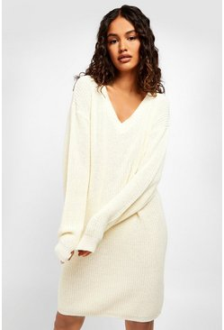 Ecru Fisherman V Neck Jumper Dress